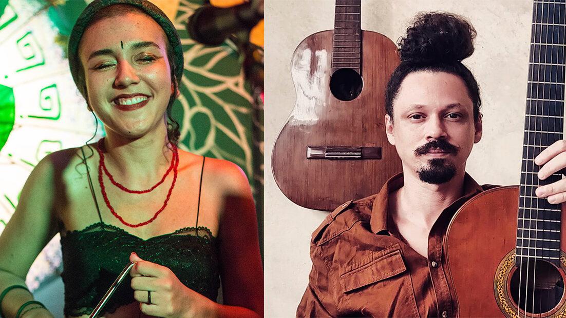 O encontro da voz e miúdas percussões de Thalia, com o violão sete cordas de Diego, aquecem os corações ao relembrar os clássicos tocados nas quadras Juninas de Belém.